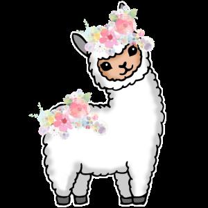 Lama Alpaka Blumen Geschenk Damen Herren Kinder