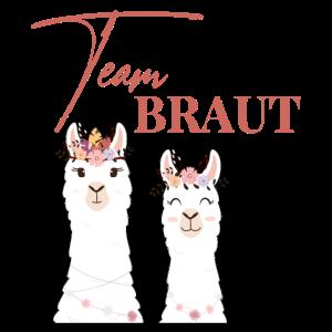 Team Braut Bride Alpaka Lama JGA Junggesellin
