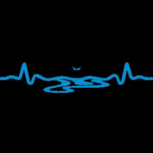 Schwimmer und Herzschag, schwimmen