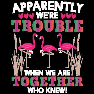 funny Frauenabend Shirt - Wein trinkende Flamingos