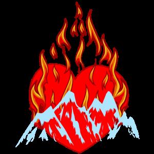 Bergsteiger Berg Bergsport Herz Feuer Flamme
