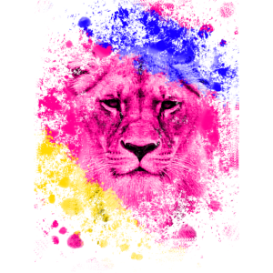 Löwe Kunst Farbenfroh Köwenkopf Geschenk