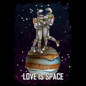 LOVE IS SPACE Weltraum Valentinstag Geschenk