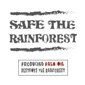 Safe the rainforest bedrukt op biokleding