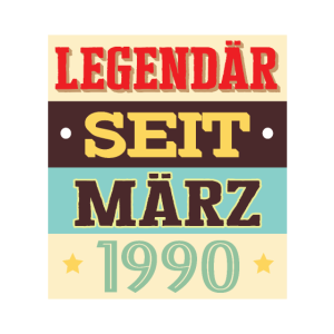 Geburtstag 1990 Maerz retro Shirt