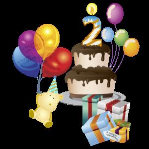 2. Geburtstag mit Kuchengeschenken und Teddy