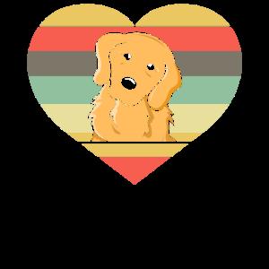 Retro Golden Retriever Herz Valentinstag
