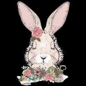 träumendes Kaninchen mit Blumen Verzierung