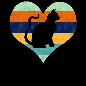 Retro Katzen Herz Katze Valentinstag