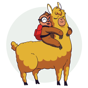Niedliches Faultier reitet auf Lama