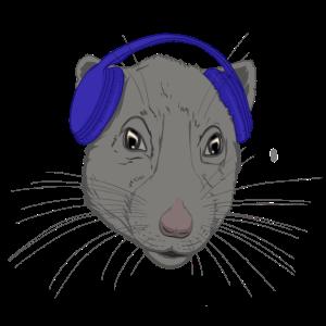 Ratte mit Kopfhörer / Jahr der Ratte
