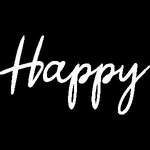 Happy Schriftzug, ich bin happy, glücklich