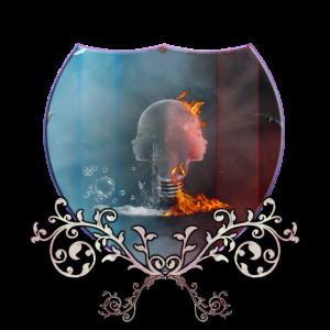 Ehrfürchtiges Gesicht der Glühlampe mit Feuer und Wasser