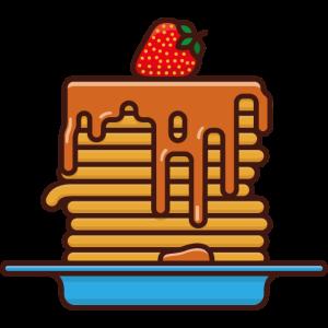 Pfannkuchen mit Karamellsoße und Erdbeere