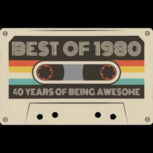 40. Geburtstag 40 Jahre 1980 Retro Tape Kassette