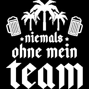 niemals ohne mein team palmen bier
