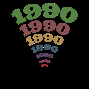 Jahrgang 1990 buntes 40. Geburtstag Design Fächer