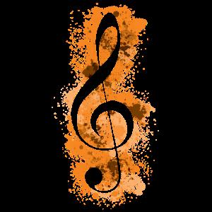 Violinschlüssel Paint Splatters Musiktheorie - Orange