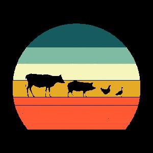 Bauernhof Kuh Schwein Huhn Ente Retro Geschenk