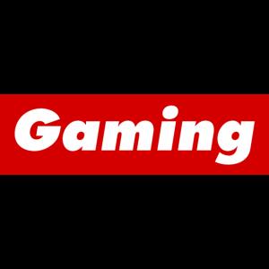 Gaming rote Box Logo Schrift Gamer Nerd Geek PC PS