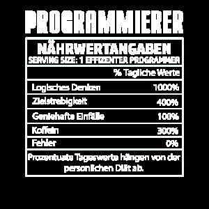 Programmierer Nährtwertangaben