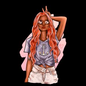 Sommerliches Anker Mädchen | Yolo-Artwork