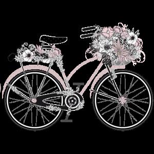Retro Fahrrad mit üppigen Blumenschmuck