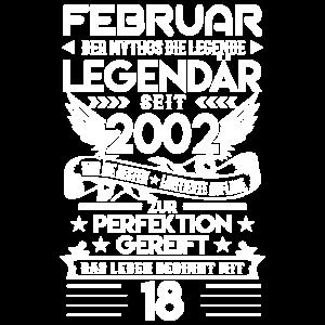 18. Geburtstag Februar 2002 Geschenk T-Shirt