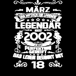 18. Geburtstag März 2002 Geschenk T-Shirt
