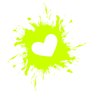 Herz Fleck Tinte Gelb