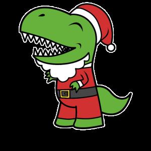 Cartoon Santasaurus Rex T-Rex Dino