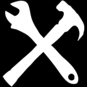 hammer und schraubenschlüssel gekreuzte werkzeuge