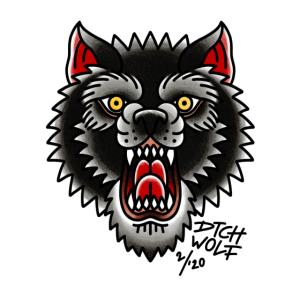 Traditionelles Wolf Tattoo Design