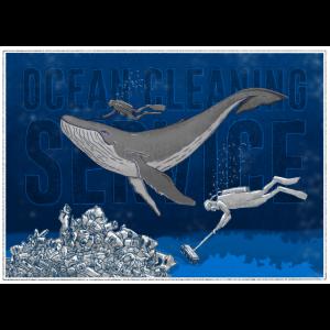 Ozeanreinigungsservice. blau Wettbewerb