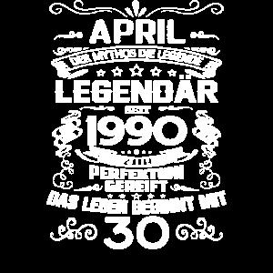 30. Geburtstag April 1990 Geschenk Geschenkidee