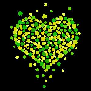 Herz aus Kleeblätter Viel Glück