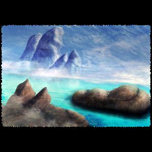 Fantasy Landschaft Insel Blau Berge Meer