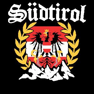 Südtirol mit Bergen Wappen Adler Tirol Österreich