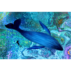 Blauwal & Taucher im Ozean