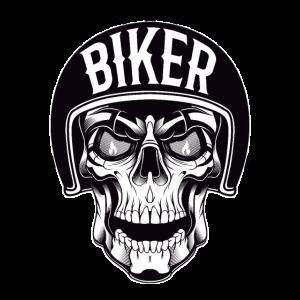 Motorrad Totenkopf oder Biker Schädel mit Helm