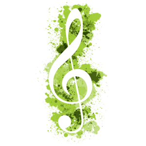 Weiße Violinschlüssel-Farbspritzer - Limonengrün