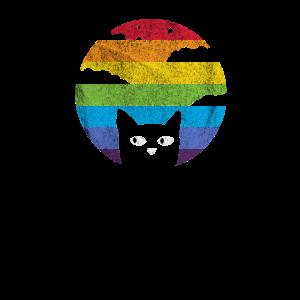 Katze Retro Vintage Regenbogen Shirt