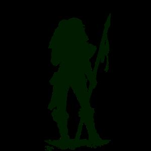 Waldläuferin mit Speer schwarz