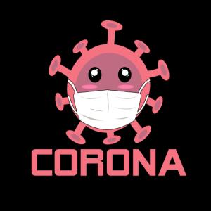 Süßes Corona Virus mit Mundschutz
