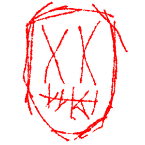 Horror Maske - weiß rot