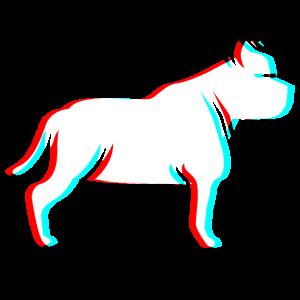 Pitbull Dog 3D Effect Blue Red Filter Glitch