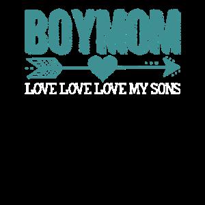 Boymom Love Love Love My Sons Funny Mom Of Boys