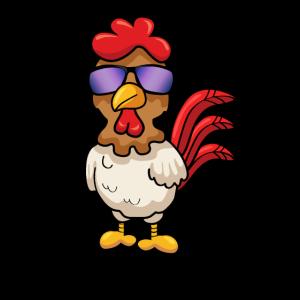 Cooles Huhn mit Sonnenbrille Comic Hühner Geschenk