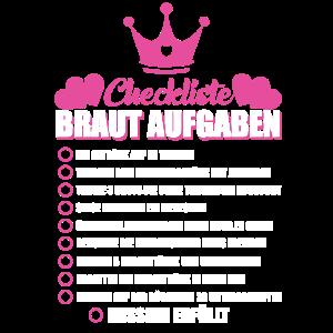 JGA Junggesellen Junggesellin Braut Checkliste