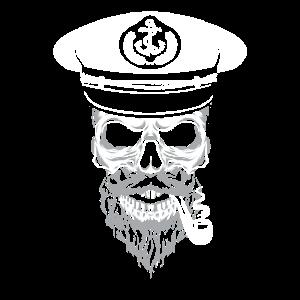Totenkopf Kapitän Seemann Geschenk Anker Segeln
